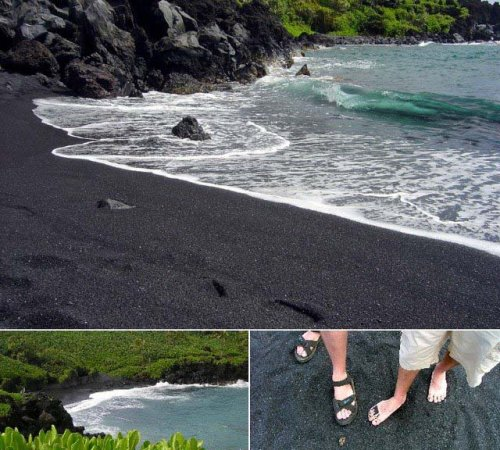 beach, black sand