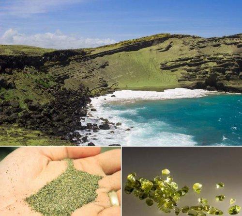 beach, green sand